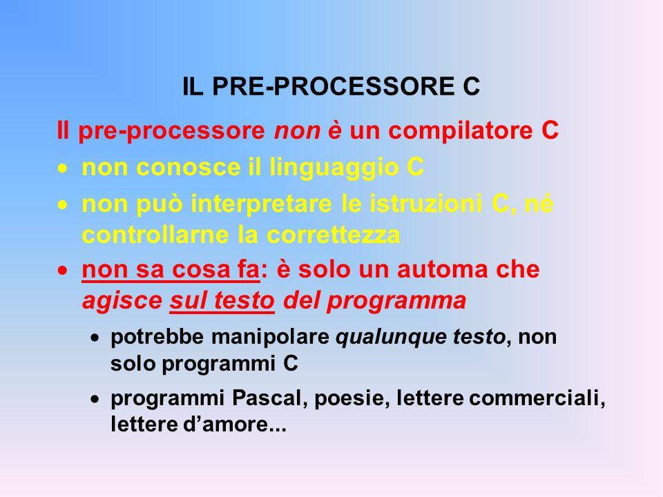 Il pre-processore non è un compilatore C non conosce il linguaggio C non può interpretare le istruzioni C, né controllarne la correttezza non sa cosa