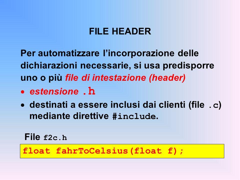 FILE HEADER float fahrToCelsius(float f); File f2c.h Per automatizzare lincorporazione delle dichiarazioni necessarie, si usa predisporre uno o più file di intestazione (header) estensione.h destinati a essere inclusi dai clienti (file.c ) mediante direttive #include.
