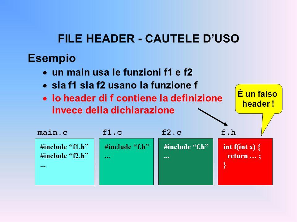 FILE HEADER - CAUTELE DUSO Esempio un main usa le funzioni f1 e f2 sia f1 sia f2 usano la funzione f lo header di f contiene la definizione invece della dichiarazione main.c #include f1.h #include f2.h...