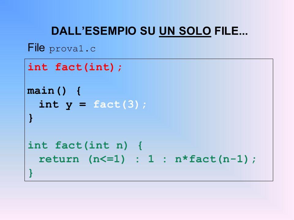 int fact(int); main() { int y = fact(3); } int fact(int n) { return (n<=1) : 1 : n*fact(n-1); } DALLESEMPIO SU UN SOLO FILE... File prova1.c