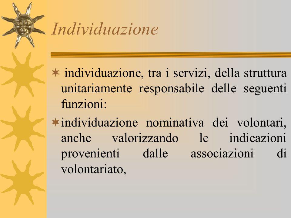Individuazione individuazione, tra i servizi, della struttura unitariamente responsabile delle seguenti funzioni: individuazione nominativa dei volont