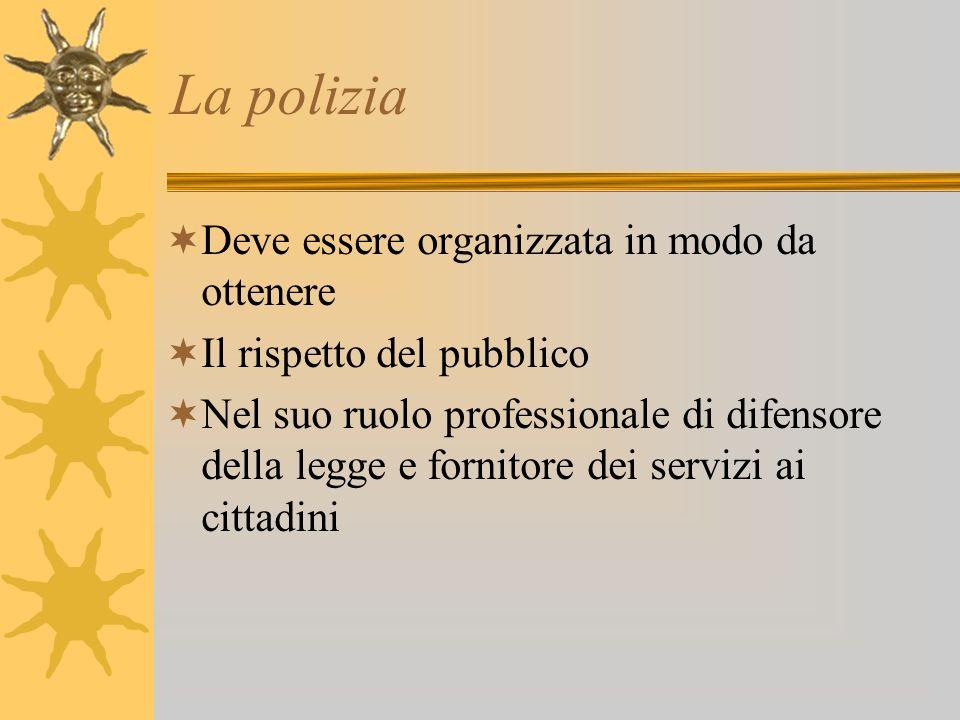 La polizia Deve essere organizzata in modo da ottenere Il rispetto del pubblico Nel suo ruolo professionale di difensore della legge e fornitore dei s