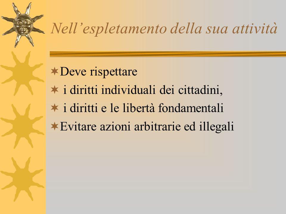 Nellespletamento della sua attività Deve rispettare i diritti individuali dei cittadini, i diritti e le libertà fondamentali Evitare azioni arbitrarie