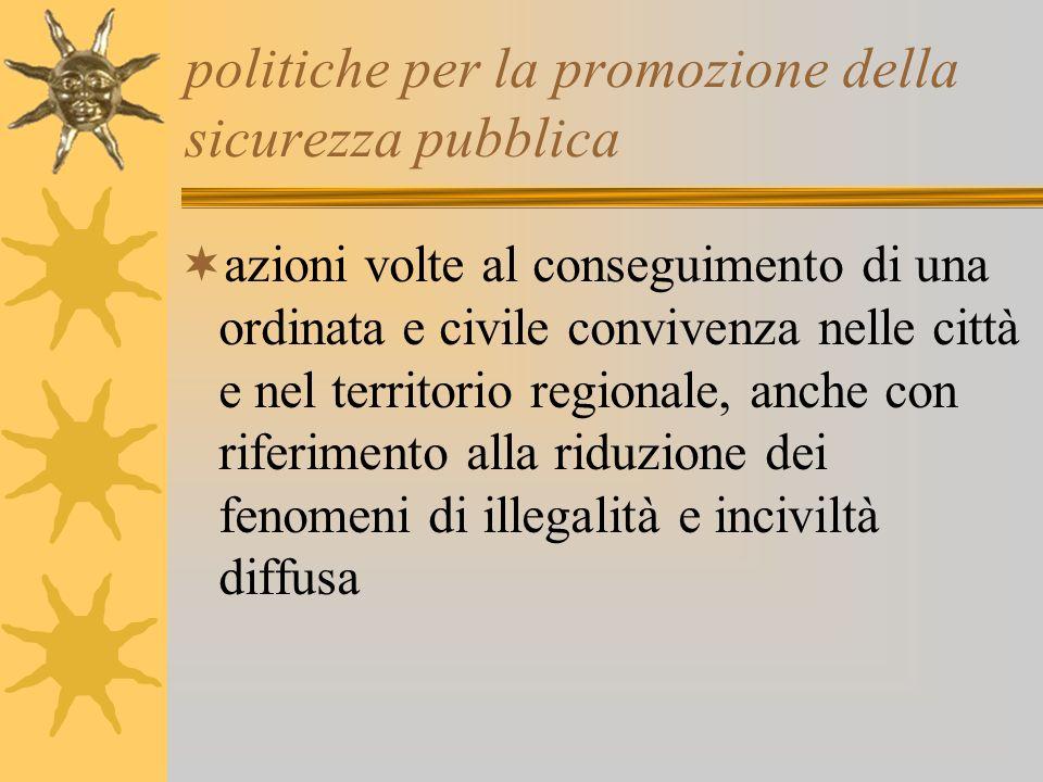 politiche per la promozione della sicurezza pubblica azioni volte al conseguimento di una ordinata e civile convivenza nelle città e nel territorio re