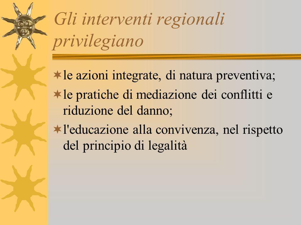 Gli interventi regionali privilegiano le azioni integrate, di natura preventiva; le pratiche di mediazione dei conflitti e riduzione del danno; l'educ