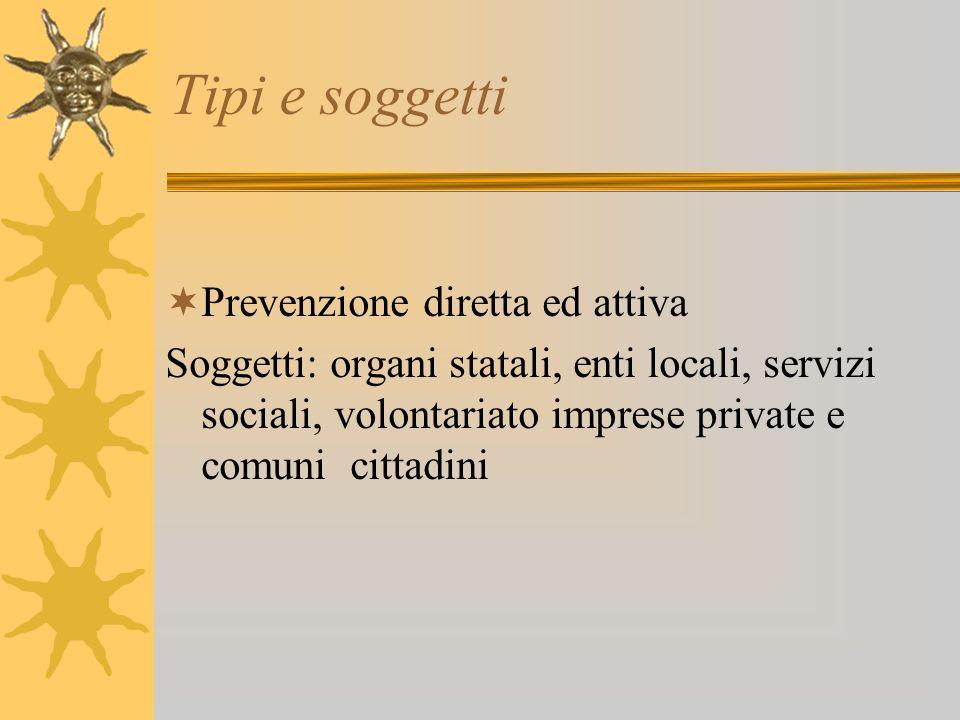 Tipi e soggetti Prevenzione diretta ed attiva Soggetti: organi statali, enti locali, servizi sociali, volontariato imprese private e comuni cittadini