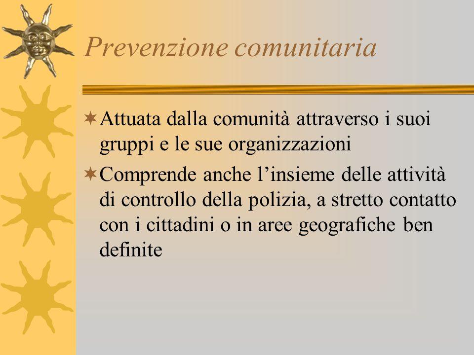 Prevenzione comunitaria Attuata dalla comunità attraverso i suoi gruppi e le sue organizzazioni Comprende anche linsieme delle attività di controllo d