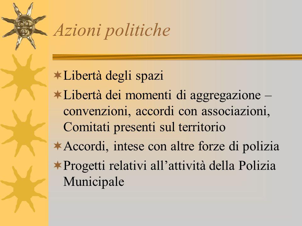 Azioni politiche Libertà degli spazi Libertà dei momenti di aggregazione – convenzioni, accordi con associazioni, Comitati presenti sul territorio Acc