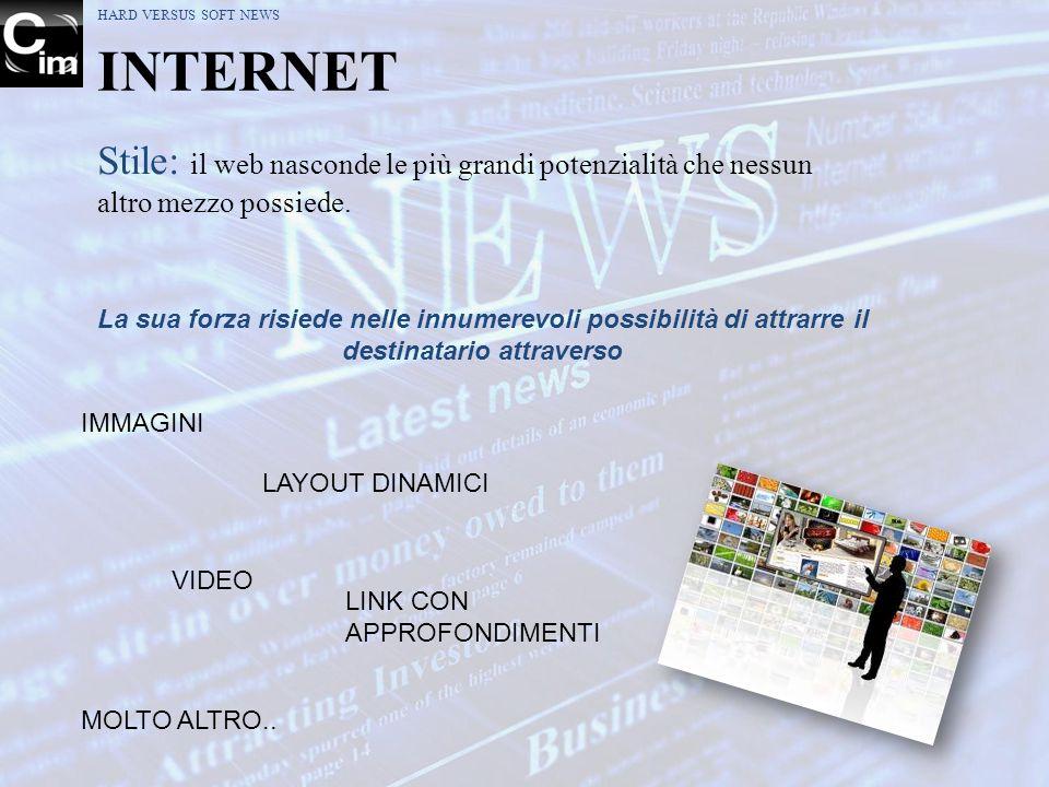 HARD VERSUS SOFT NEWS INTERNET Stile: il web nasconde le più grandi potenzialità che nessun altro mezzo possiede. La sua forza risiede nelle innumerev