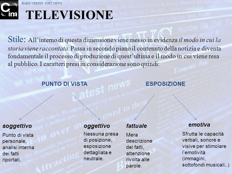 TELEVISIONE Stile: Allinterno di questa dimensione viene messo in evidenza il modo in cui la storia viene raccontata. Passa in secondo piano il conten
