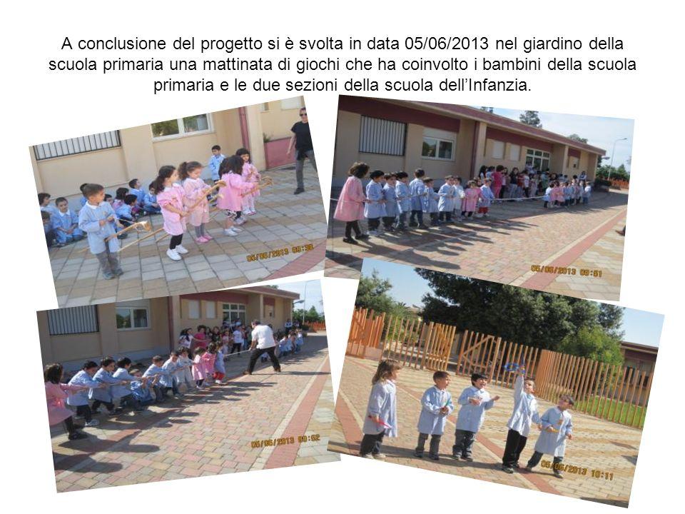 A conclusione del progetto si è svolta in data 05/06/2013 nel giardino della scuola primaria una mattinata di giochi che ha coinvolto i bambini della