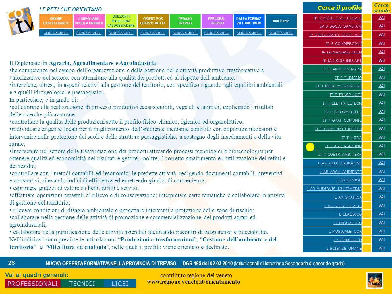 LE RETI CHE ORIENTANO contributo regione del veneto www.regione.veneto.it/orientamento 28 NUOVA OFFERTA FORMATIVA NELLA PROVINCIA DI TREVISO - DGR 495