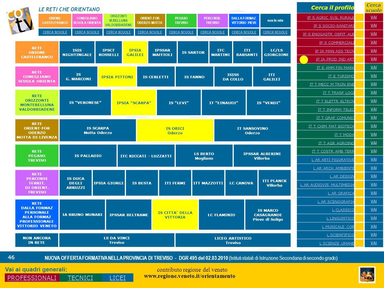 LE RETI CHE ORIENTANO contributo regione del veneto www.regione.veneto.it/orientamento 46 NUOVA OFFERTA FORMATIVA NELLA PROVINCIA DI TREVISO - DGR 495