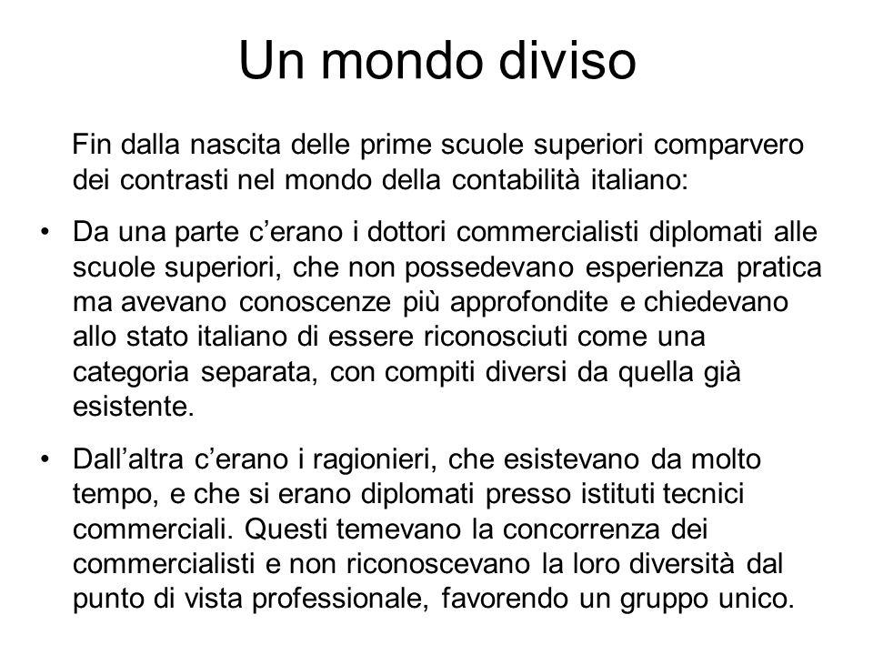 Un mondo diviso Fin dalla nascita delle prime scuole superiori comparvero dei contrasti nel mondo della contabilità italiano: Da una parte cerano i do