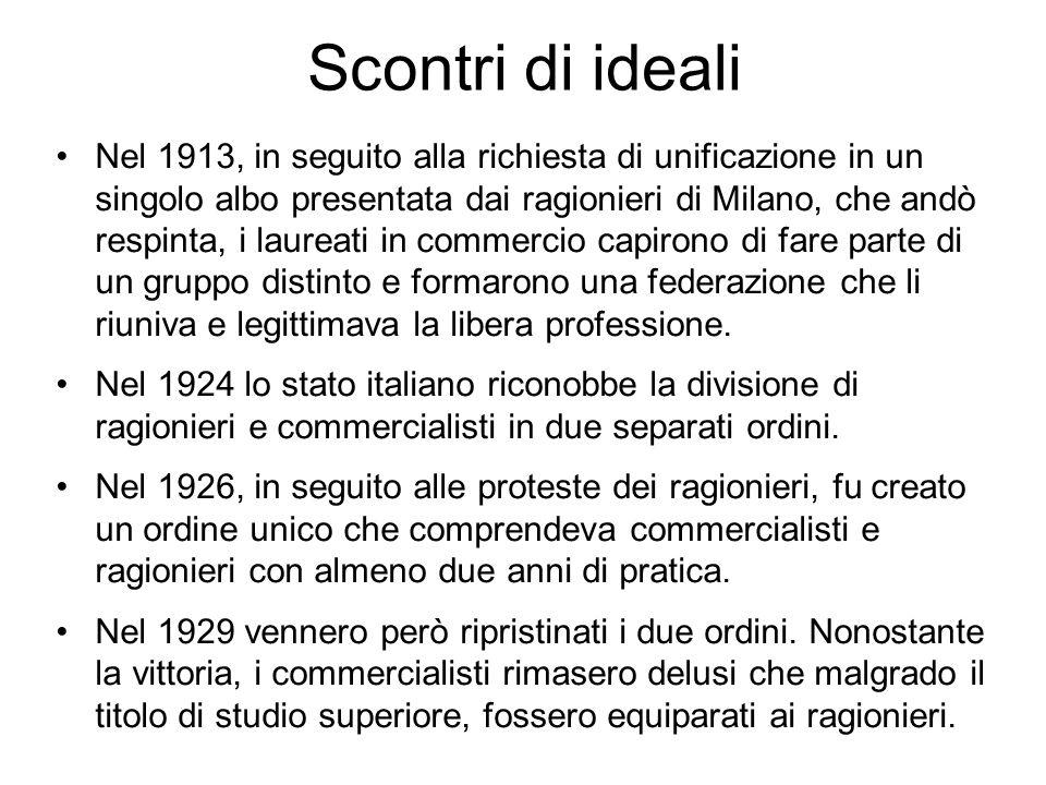 Scontri di ideali Nel 1913, in seguito alla richiesta di unificazione in un singolo albo presentata dai ragionieri di Milano, che andò respinta, i lau