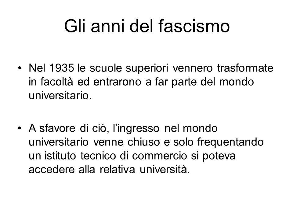 Gli anni del fascismo Nel 1935 le scuole superiori vennero trasformate in facoltà ed entrarono a far parte del mondo universitario. A sfavore di ciò,