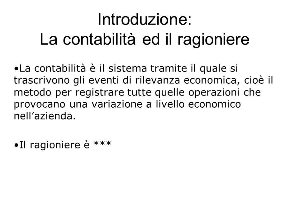 Introduzione: La contabilità ed il ragioniere La contabilità è il sistema tramite il quale si trascrivono gli eventi di rilevanza economica, cioè il m
