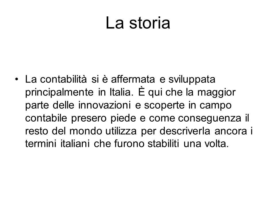 La storia La contabilità si è affermata e sviluppata principalmente in Italia. È qui che la maggior parte delle innovazioni e scoperte in campo contab