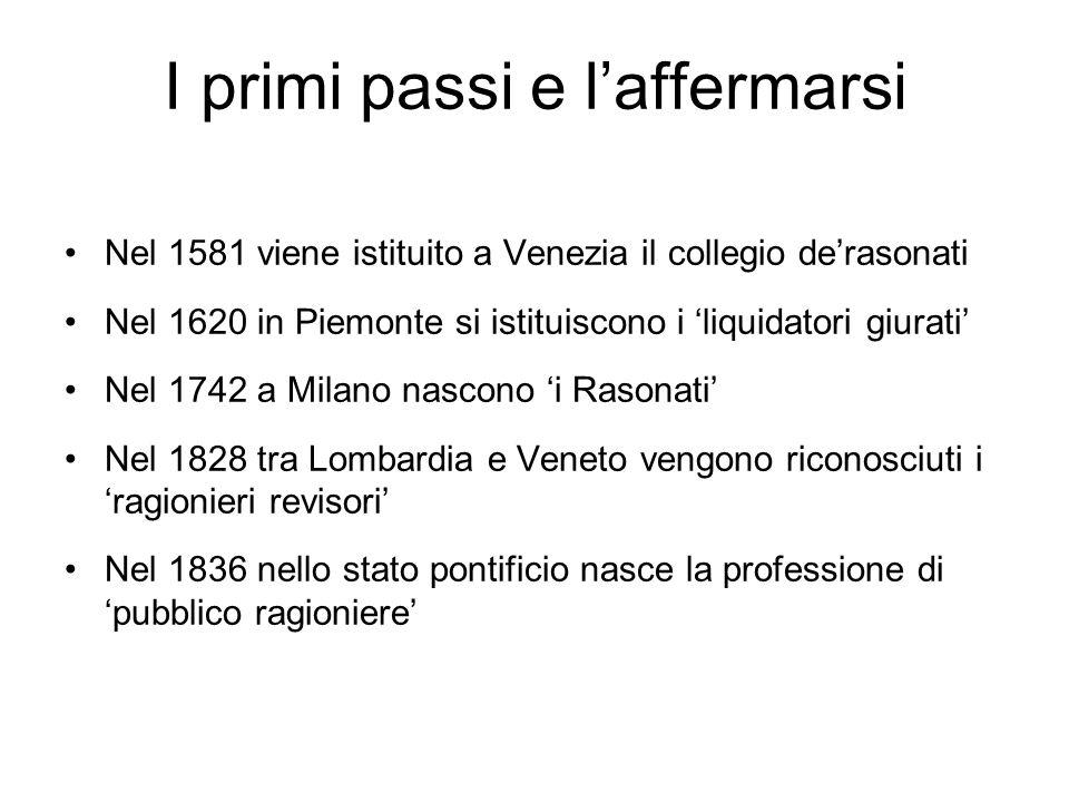 I primi passi e laffermarsi Nel 1581 viene istituito a Venezia il collegio derasonati Nel 1620 in Piemonte si istituiscono i liquidatori giurati Nel 1