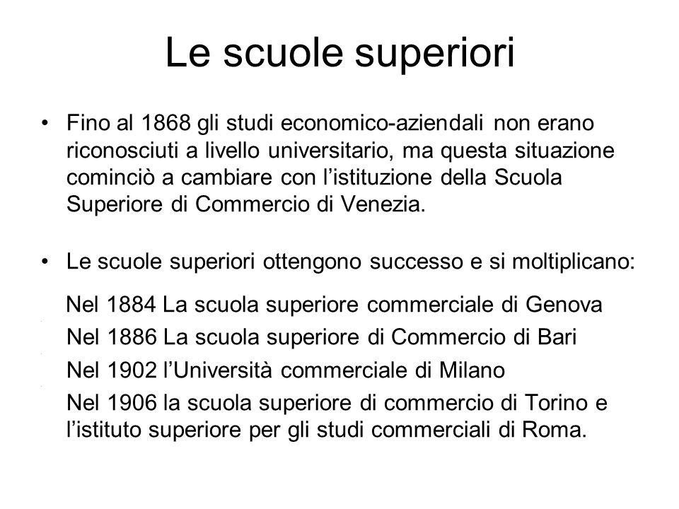 Le scuole superiori Fino al 1868 gli studi economico-aziendali non erano riconosciuti a livello universitario, ma questa situazione cominciò a cambiar