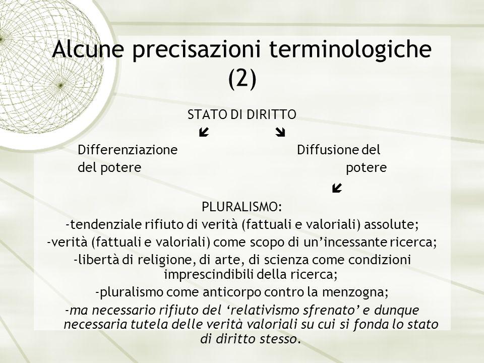 Alcune precisazioni terminologiche (2) STATO DI DIRITTO Differenziazione Diffusione del del potere potere PLURALISMO: -tendenziale rifiuto di verità (