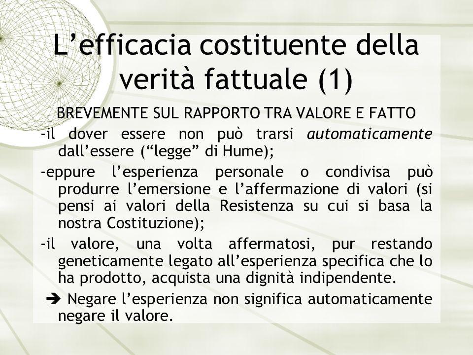 Lefficacia costituente della verità fattuale (1) BREVEMENTE SUL RAPPORTO TRA VALORE E FATTO -il dover essere non può trarsi automaticamente dallessere