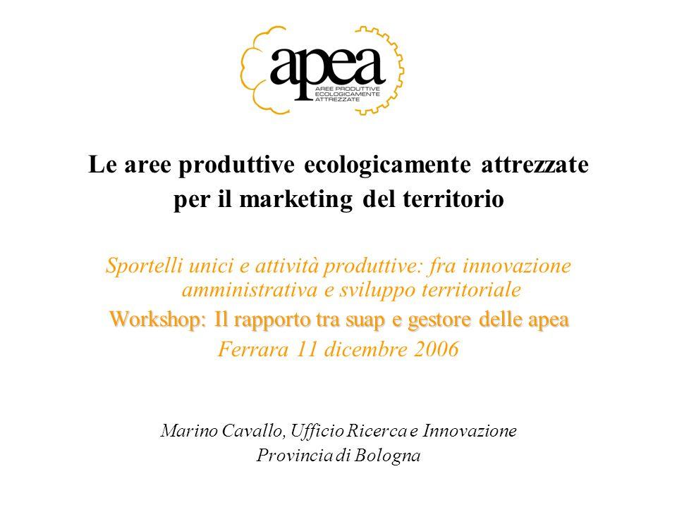 Le aree produttive ecologicamente attrezzate per il marketing del territorio Sportelli unici e attività produttive: fra innovazione amministrativa e s