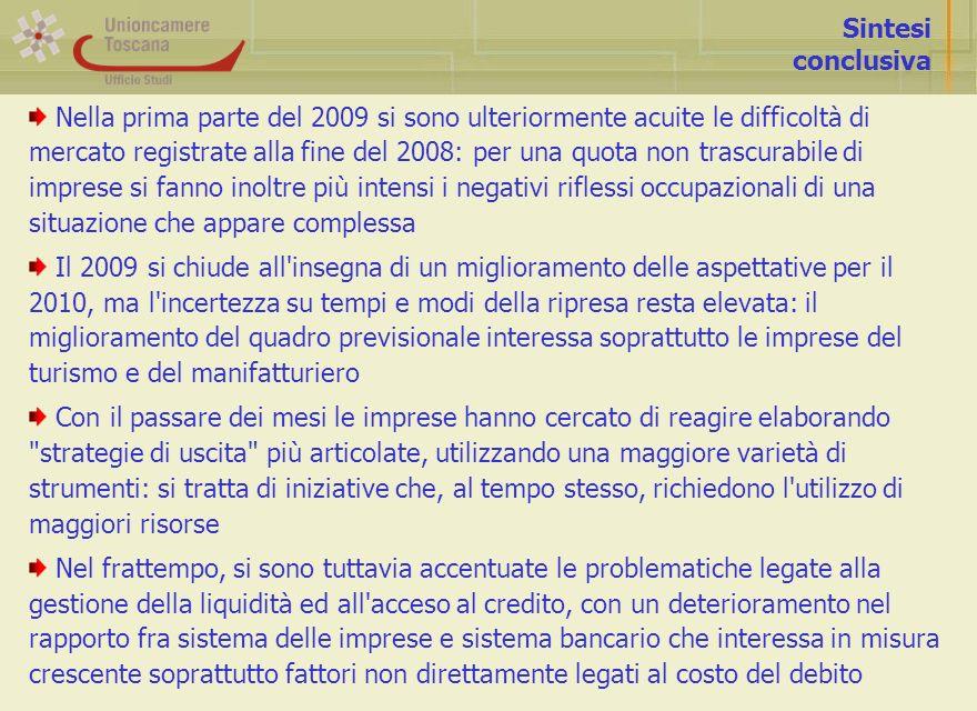 Sintesi conclusiva Nella prima parte del 2009 si sono ulteriormente acuite le difficoltà di mercato registrate alla fine del 2008: per una quota non t