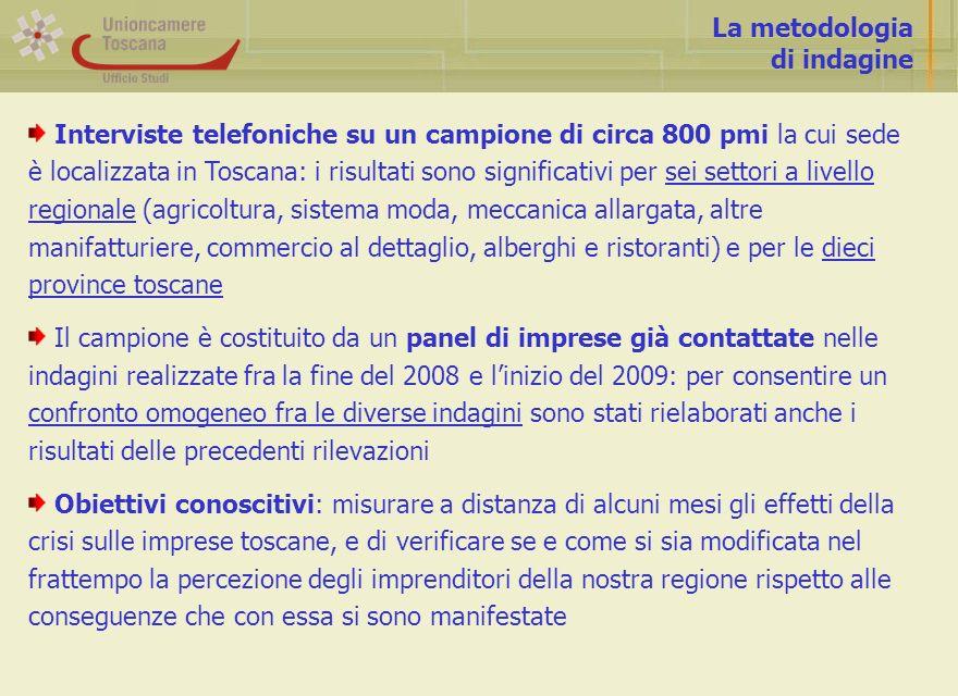 La metodologia di indagine Interviste telefoniche su un campione di circa 800 pmi la cui sede è localizzata in Toscana: i risultati sono significativi