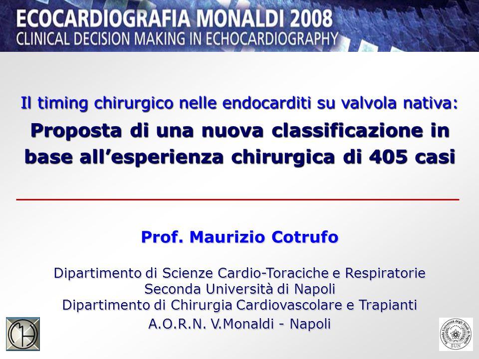 Il timing chirurgico nelle endocarditi su valvola nativa: Proposta di una nuova classificazione in base allesperienza chirurgica di 405 casi Prof.