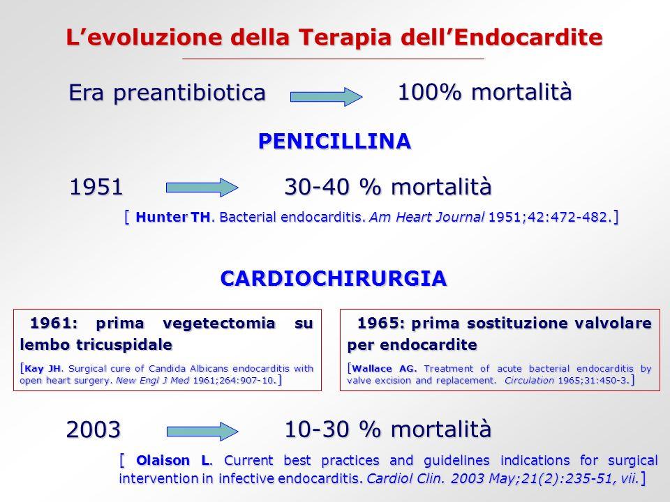 Il ruolo della Cardiochirurgia Ripristinare le funzione valvolare Ripristinare le funzione valvolare Prevenire lo scompenso cardiaco Prevenire lo scompenso cardiaco Concorrere con la terapia medica a: Concorrere con la terapia medica a: - Eradicare linfezione - Prevenire la recidiva - Prevenire le manifestazioni extra-cardiache