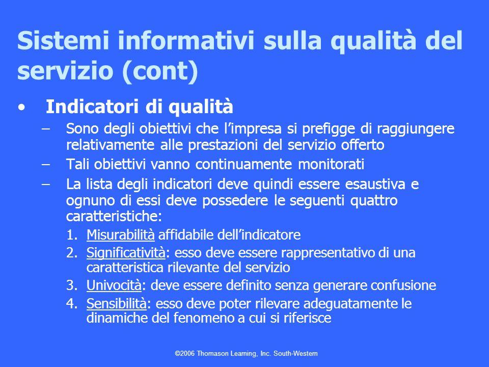 ©2006 Thomason Learning, Inc. South-Western Sistemi informativi sulla qualità del servizio (cont) Indicatori di qualità –Sono degli obiettivi che limp