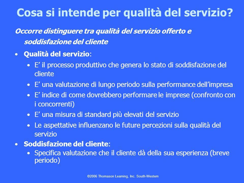 ©2006 Thomason Learning, Inc. South-Western Occorre distinguere tra qualità del servizio offerto e soddisfazione del cliente Qualità del servizio: E i