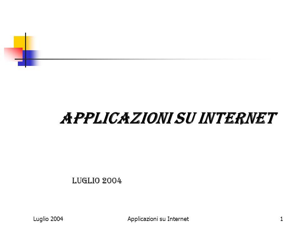 Luglio 2004Applicazioni su Internet1 Luglio 2004