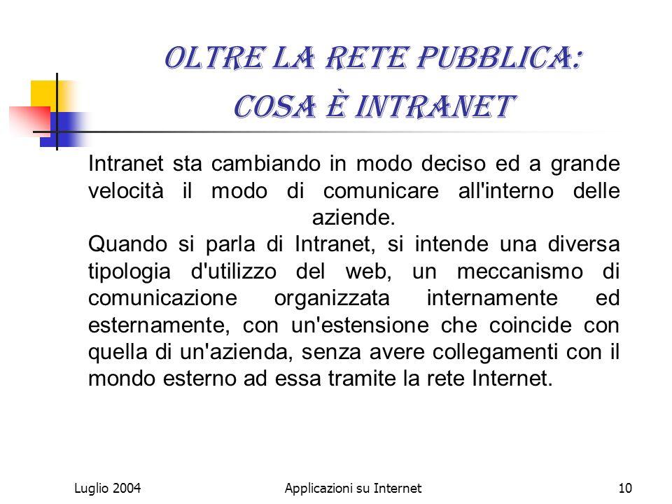 Luglio 2004Applicazioni su Internet10 Oltre la rete pubblica: Cosa è Intranet Intranet sta cambiando in modo deciso ed a grande velocità il modo di comunicare all interno delle aziende.