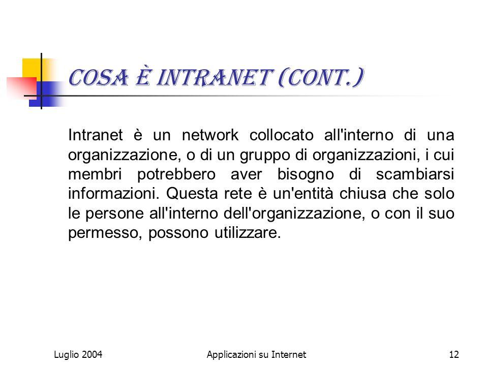 Luglio 2004Applicazioni su Internet12 Cosa è Intranet (cont.) Intranet è un network collocato all interno di una organizzazione, o di un gruppo di organizzazioni, i cui membri potrebbero aver bisogno di scambiarsi informazioni.