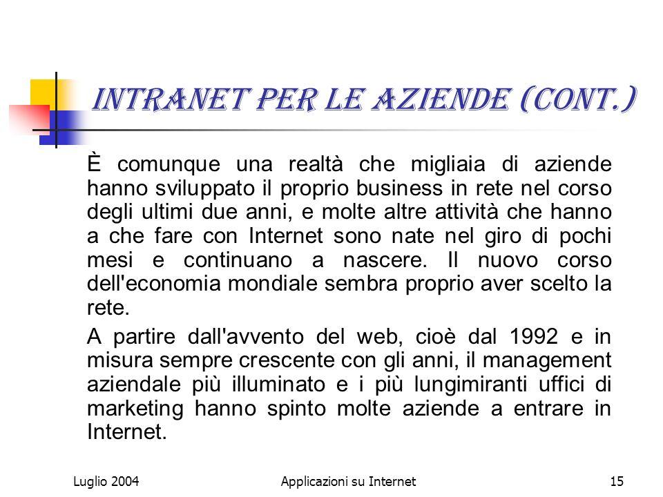 Luglio 2004Applicazioni su Internet15 Intranet per le aziende (Cont.) È comunque una realtà che migliaia di aziende hanno sviluppato il proprio business in rete nel corso degli ultimi due anni, e molte altre attività che hanno a che fare con Internet sono nate nel giro di pochi mesi e continuano a nascere.