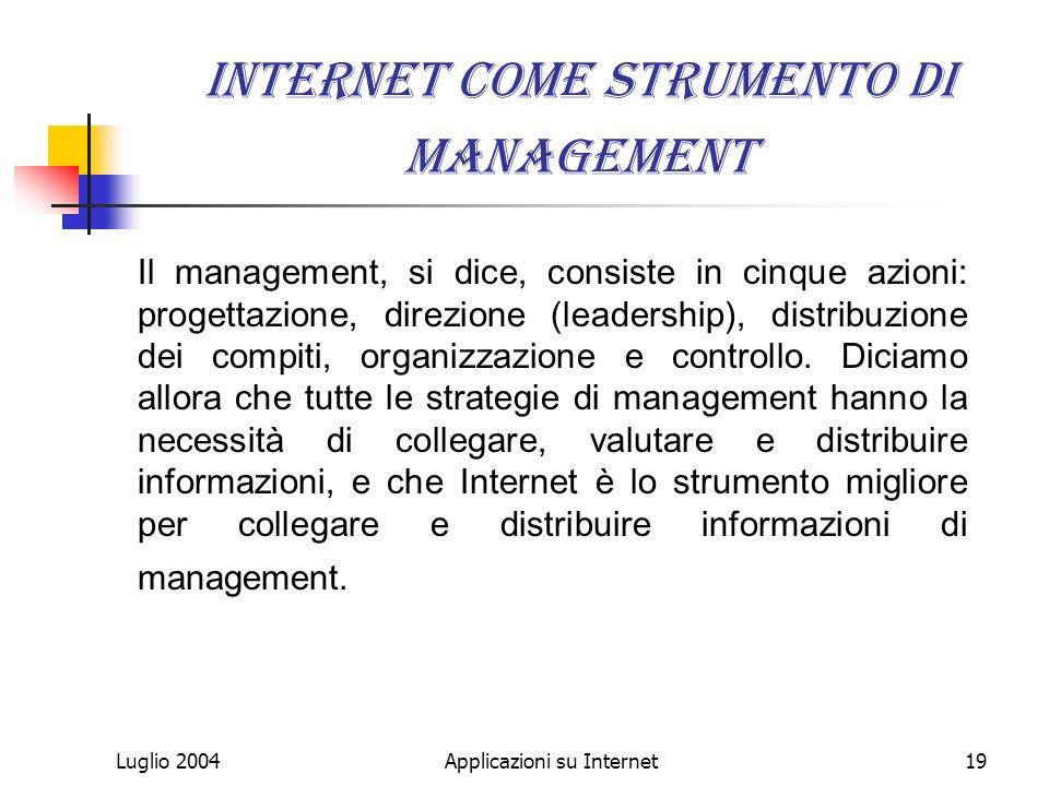 Luglio 2004Applicazioni su Internet19 Internet come strumento di management Il management, si dice, consiste in cinque azioni: progettazione, direzione (leadership), distribuzione dei compiti, organizzazione e controllo.