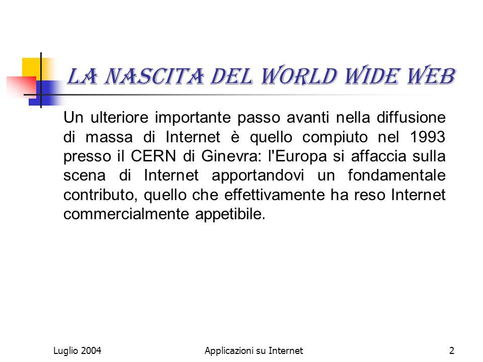 Applicazioni su Internet2 La nascita del World Wide Web Un ulteriore importante passo avanti nella diffusione di massa di Internet è quello compiuto nel 1993 presso il CERN di Ginevra: l Europa si affaccia sulla scena di Internet apportandovi un fondamentale contributo, quello che effettivamente ha reso Internet commercialmente appetibile.