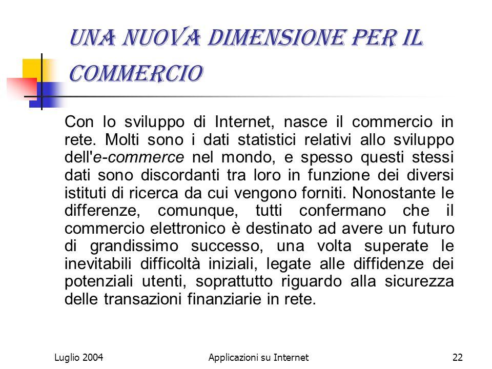 Luglio 2004Applicazioni su Internet22 Una nuova dimensione per il commercio Con lo sviluppo di Internet, nasce il commercio in rete.