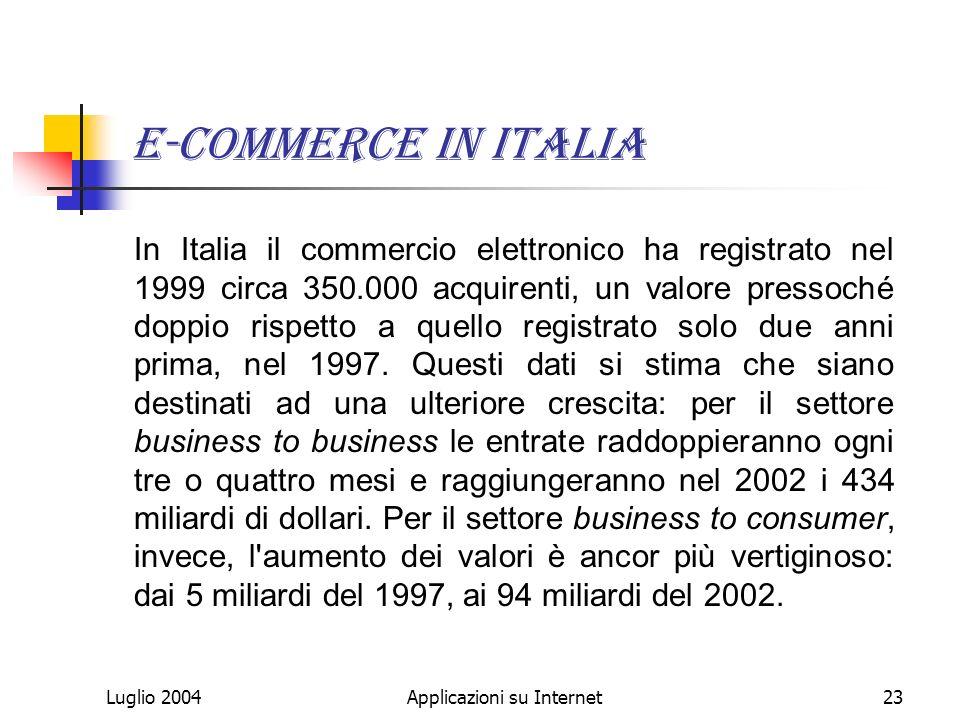 Luglio 2004Applicazioni su Internet23 E-commerce in italia In Italia il commercio elettronico ha registrato nel 1999 circa 350.000 acquirenti, un valore pressoché doppio rispetto a quello registrato solo due anni prima, nel 1997.