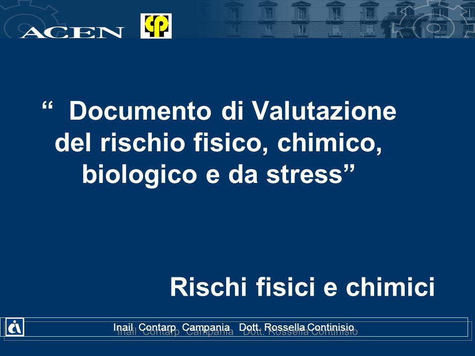 Documento di Valutazione del rischio fisico, chimico, biologico e da stress Rischi fisici e chimici Inail Contarp Campania Dott. Rossella Continisio