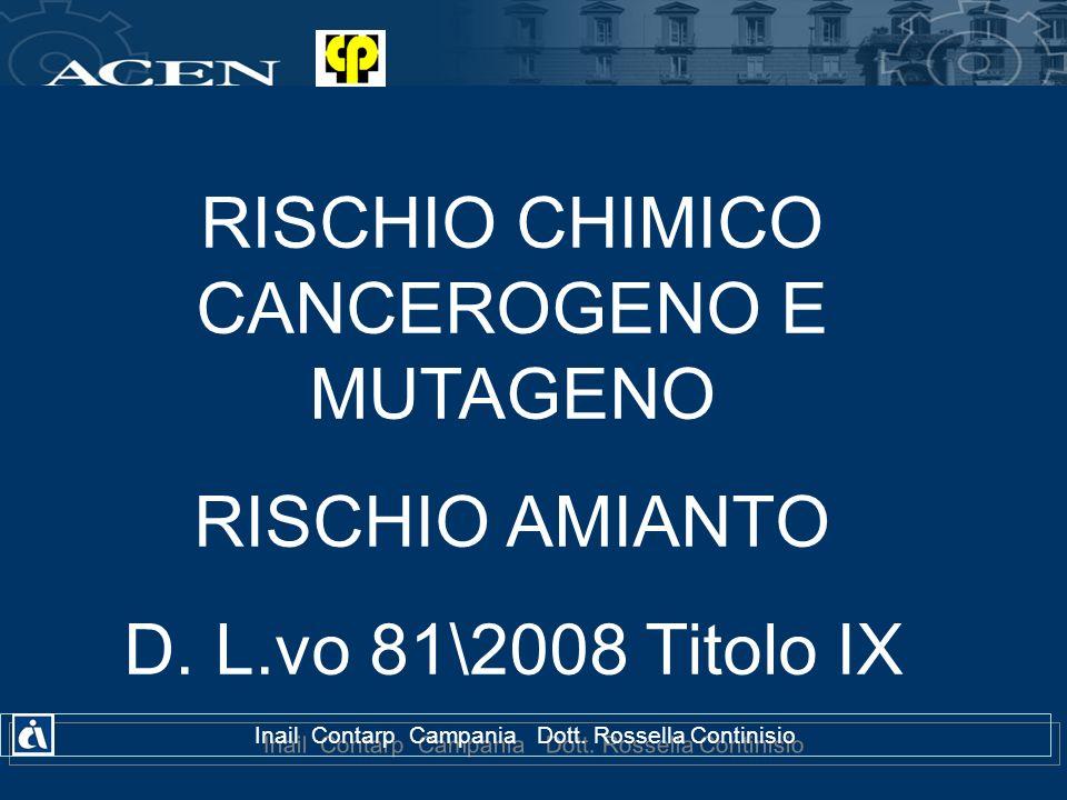 RISCHIO CHIMICO CANCEROGENO E MUTAGENO RISCHIO AMIANTO D. L.vo 81\2008 Titolo IX Inail Contarp Campania Dott. Rossella Continisio