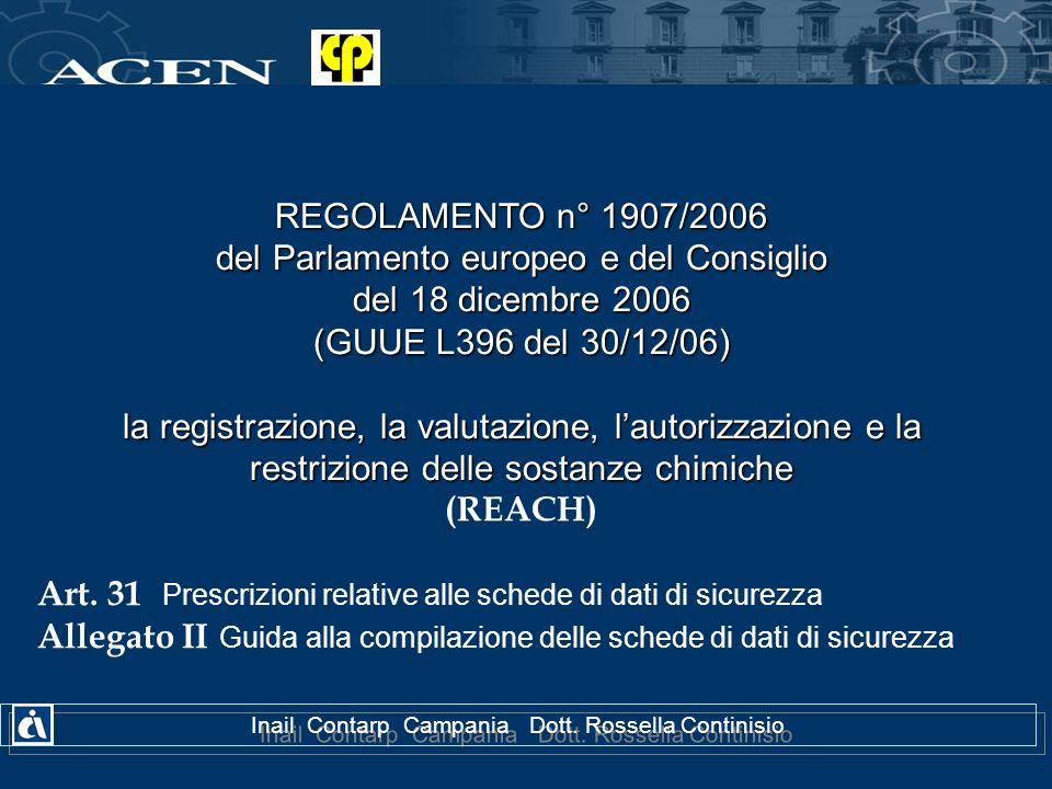 REGOLAMENTO n° 1907/2006 del Parlamento europeo e del Consiglio del 18 dicembre 2006 (GUUE L396 del 30/12/06) la registrazione, la valutazione, lautor