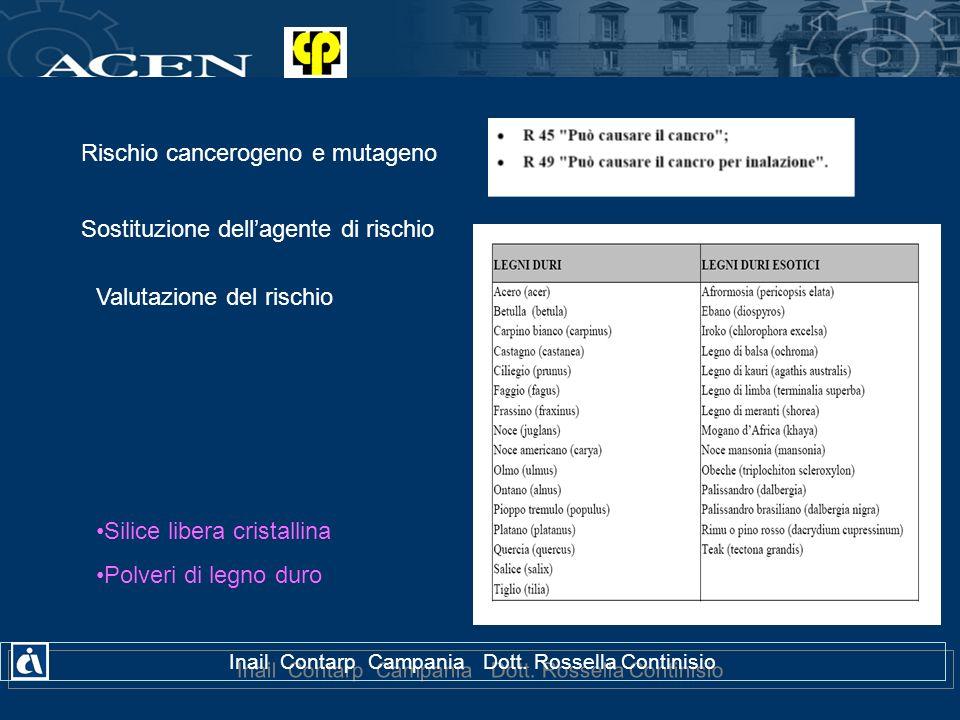 Inail Contarp Campania Dott. Rossella Continisio Rischio cancerogeno e mutageno Sostituzione dellagente di rischio Valutazione del rischio Silice libe