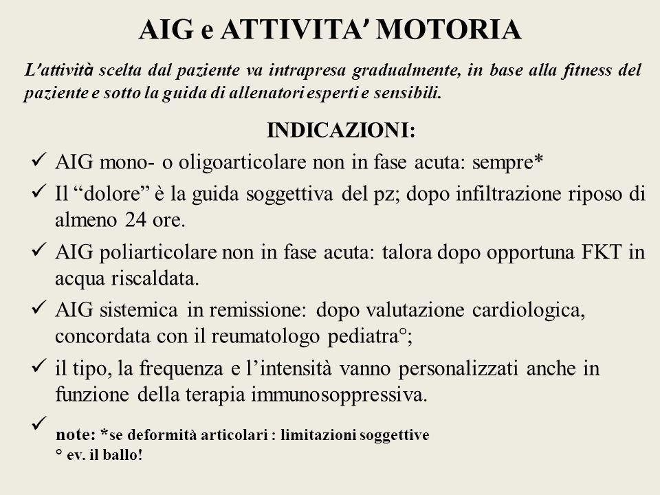 AIG e ATTIVITA MOTORIA INDICAZIONI: AIG mono- o oligoarticolare non in fase acuta: sempre* Il dolore è la guida soggettiva del pz; dopo infiltrazione