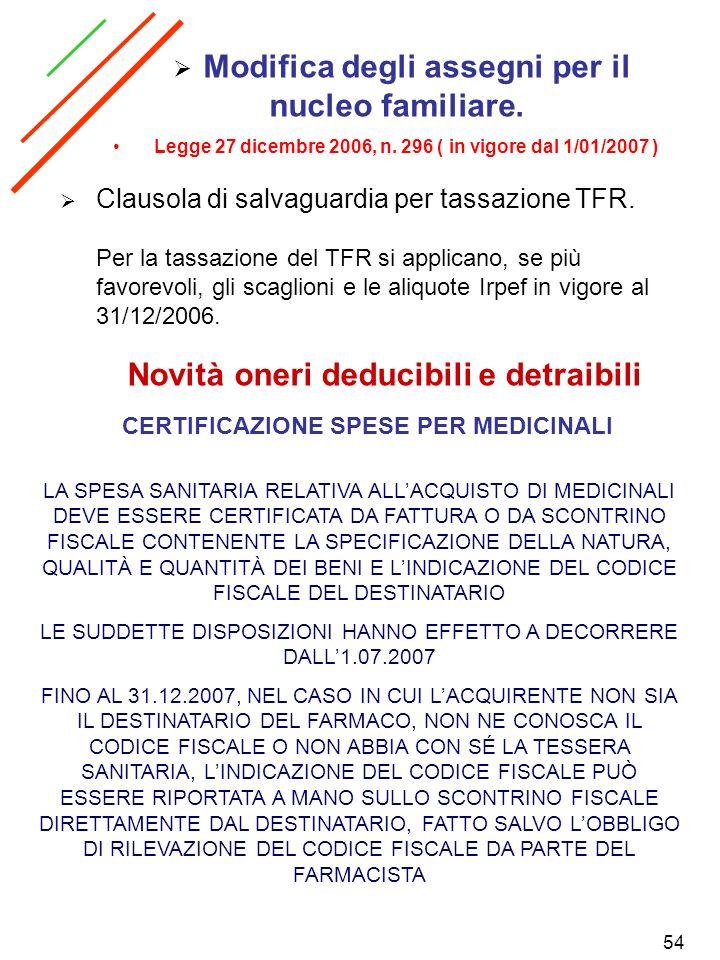 54 Clausola di salvaguardia per tassazione TFR. Per la tassazione del TFR si applicano, se più favorevoli, gli scaglioni e le aliquote Irpef in vigore