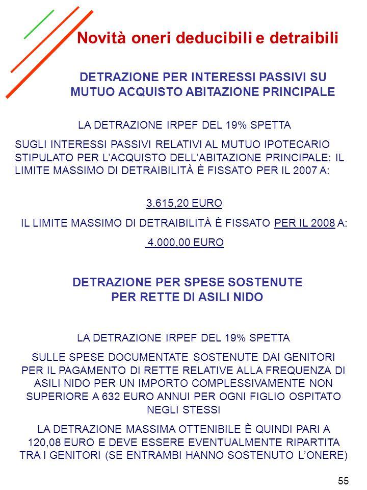 55 DETRAZIONE PER INTERESSI PASSIVI SU MUTUO ACQUISTO ABITAZIONE PRINCIPALE LA DETRAZIONE IRPEF DEL 19% SPETTA SUGLI INTERESSI PASSIVI RELATIVI AL MUT