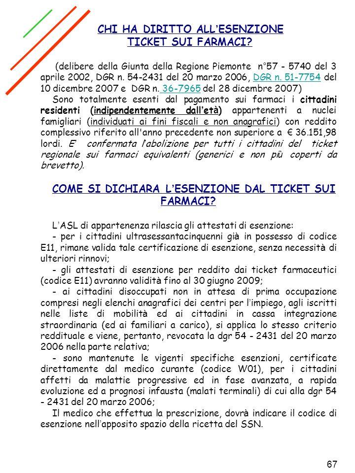 67 CHI HA DIRITTO ALL ESENZIONE TICKET SUI FARMACI? (delibere della Giunta della Regione Piemonte n°57 - 5740 del 3 aprile 2002, DGR n. 54-2431 del 20