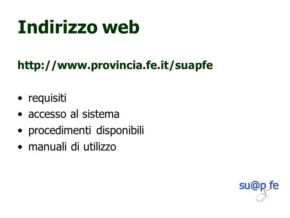 Indirizzo web http://www.provincia.fe.it/suapfe requisiti accesso al sistema procedimenti disponibili manuali di utilizzo
